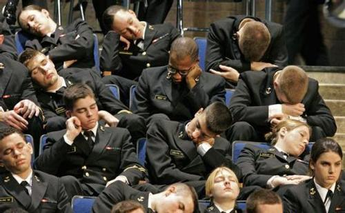 sleeping students in lecture hall